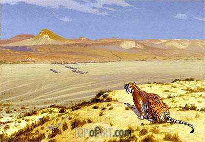 Tiger on the Watch, c.1888 | Gerome | Painting Reproduction