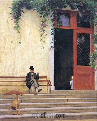 The Artist's Father and Son on the Doorstep of His House, c.1866/67 | Gerome| Gemälde Reproduktion