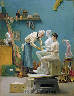 Working in Marble (The Artist Sculpting Tanagra), 1890 | Gerome| Painting Reproduction