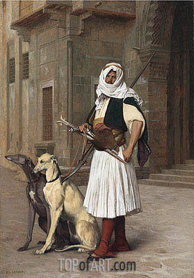 Arnaut with Two Whippets Dogs, 1867 | Gerome | Gemälde Reproduktion