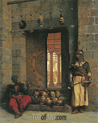 The Doorway to the Mosque El Assaneyn in Cairo where the heads of the Rebel Beys were exposed by Salek-Kachef, 1866 | Gerome | Painting Reproduction
