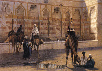 Camels at the Watering Place, 1894 | Gerome| Painting Reproduction