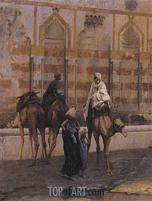 Camels at the Watering Place (Detail), 1894 | Gerome| Painting Reproduction