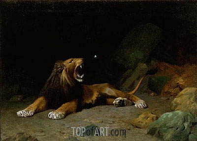 Lion Snapping at a Butterfly, 1889 | Gerome | Painting Reproduction