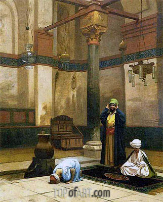 Gerome | Three Worshippers Praying in a Corner of a Mosque, c.1880