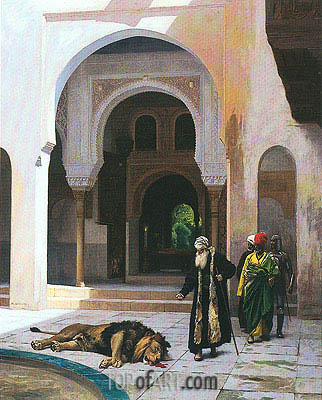 The Accursed Lion, undated | Gerome | Painting Reproduction