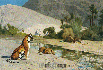 Tigress and Her Cubs, undated | Gerome | Painting Reproduction