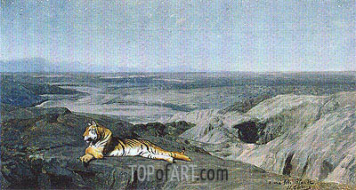 Night on the Desert (Tiger Resting in the Moonlight), 1884 | Gerome | Gemälde Reproduktion