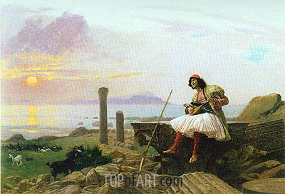 Guitar Player (Greek Singer), undated | Gerome| Painting Reproduction