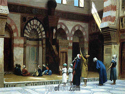Prayer in the Mosque of Caid Bey in Cairo, 1895 | Gerome | Painting Reproduction