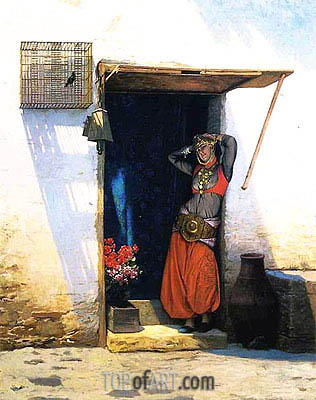 Woman of Cairo at Her Door, 1897 | Gerome| Painting Reproduction