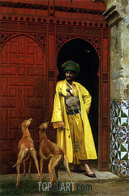 An Arab and His Dogs, 1875 | Gerome| Gemälde Reproduktion