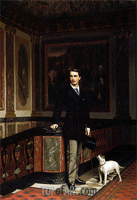 Duc de la Rochefoucauld Doudeauville with His Terrier, 1875 | Gerome | Gemälde Reproduktion
