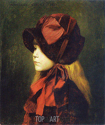 Madeleine Gerome with Hat, 1883 | Gerome | Painting Reproduction