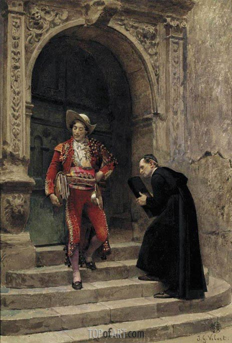 Figaro and a Priest, undated | Jehan Georges Vibert | Painting Reproduction