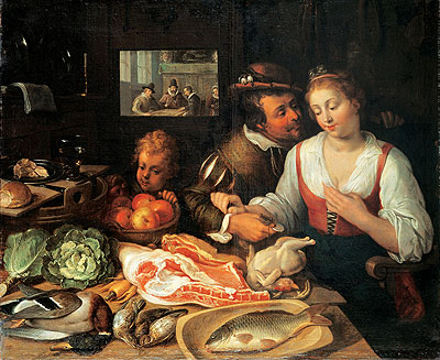 Kitchen Scene, 1613 | Jeremias van Winghe | Painting Reproduction