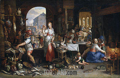 Kitchen Scene with the Parable of the Feast, 1605 | Joachim Wtewael| Painting Reproduction