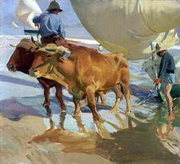 Oxen on the Beach, 1910 by Sorolla y Bastida | Painting Reproduction