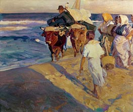 Towing in the boat, Valencia Beach | Sorolla y Bastida | Painting Reproduction