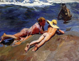 On the Sand, Valencia Beach, 1908 by Sorolla y Bastida | Painting Reproduction