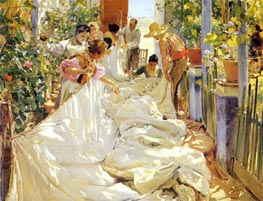 Mending the Sail, 1896 by Sorolla y Bastida | Painting Reproduction