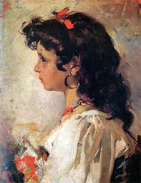 Head of a Italian Girl, 1886 by Sorolla y Bastida | Painting Reproduction