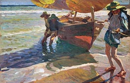 Beaching Boats, undated by Sorolla y Bastida | Painting Reproduction