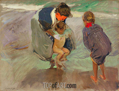 On the Beach, 1908 | Sorolla y Bastida | Painting Reproduction
