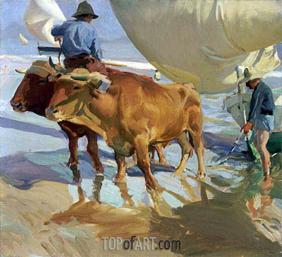 Oxen on the Beach, 1910 | Sorolla y Bastida | Painting Reproduction