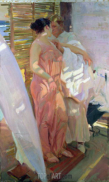 After the Bath (The Pink Robe), 1916 | Sorolla y Bastida | Gemälde Reproduktion