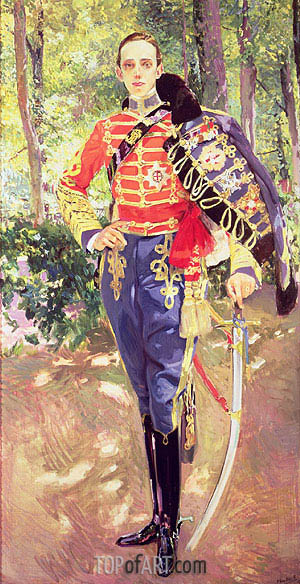Portrait of King Alfonso XIII wearing the uniform of the Hussars, 1907 | Sorolla y Bastida | Gemälde Reproduktion