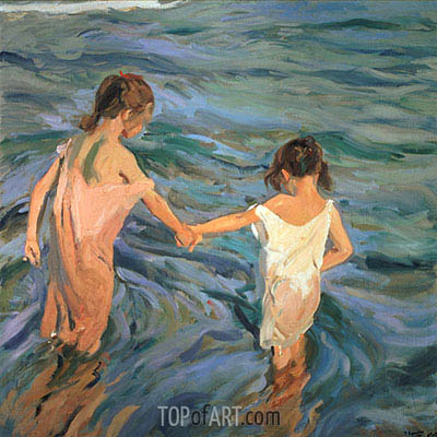 Children in the Sea, 1909 | Sorolla y Bastida | Gemälde Reproduktion