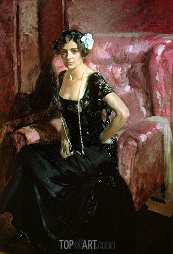 Clotilde in an Evening Dress, 1910 | Sorolla y Bastida | Painting Reproduction