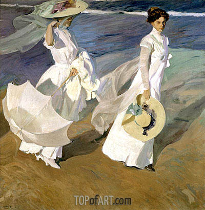 Strolling along the Seashore, 1909 | Sorolla y Bastida | Painting Reproduction