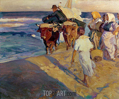 Sorolla y Bastida | Towing in the boat, Valencia Beach, 1916