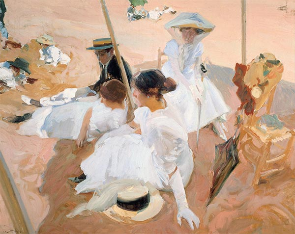 Under the Parasol, Zarauz, 1910 | Sorolla y Bastida | Painting Reproduction
