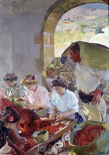Preparing the Dry Grapes, 1890 | Sorolla y Bastida | Painting Reproduction