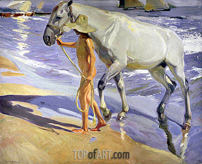 Sorolla y Bastida | Washing the Horse, 1909