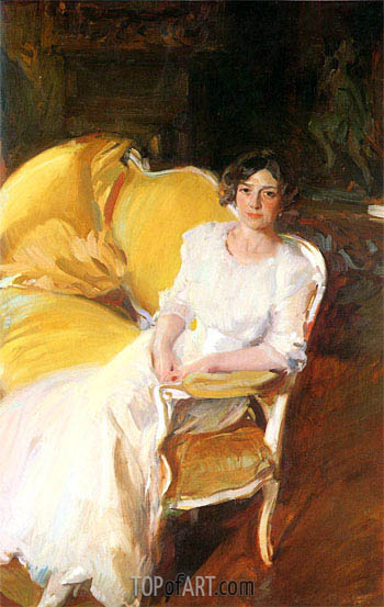 Clotilde Seated on the Sofa, 1910 | Sorolla y Bastida | Gemälde Reproduktion