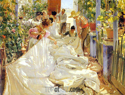 Sorolla y Bastida | Mending the Sail, 1896