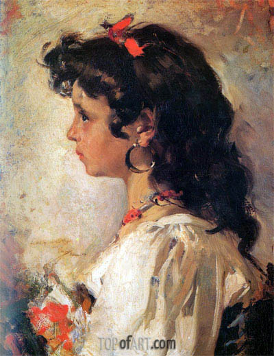Sorolla y Bastida | Head of a Italian Girl, 1886