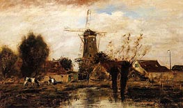 Landscape with Windmill, undated by Jongkind | Painting Reproduction