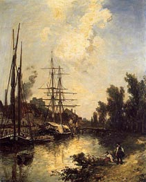 Boats Dockside, 1855 by Jongkind | Painting Reproduction