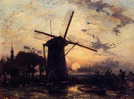 Boatman by a Windmill at Sundown, 1859 by Jongkind | Painting Reproduction