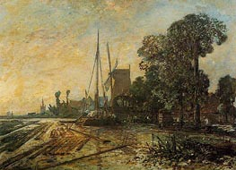 Windmill near the Water, 1860 by Jongkind | Painting Reproduction