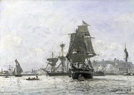 Large Sailing Boats at Honfleur, 1865 by Jongkind | Painting Reproduction