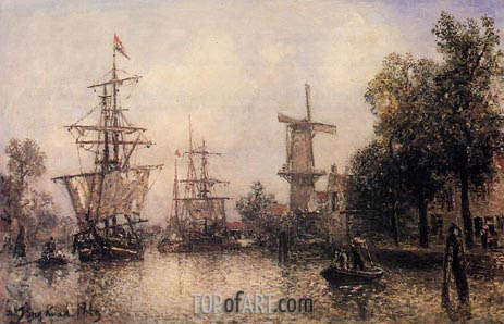 The Port of Rotterdam, 1869 | Jongkind | Painting Reproduction