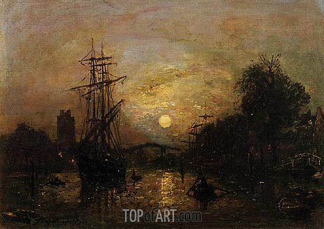 Canal in Holland, 1870 | Jongkind | Painting Reproduction
