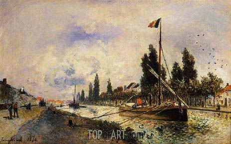 The Barge on the Canal near Paris, 1870 | Jongkind | Painting Reproduction