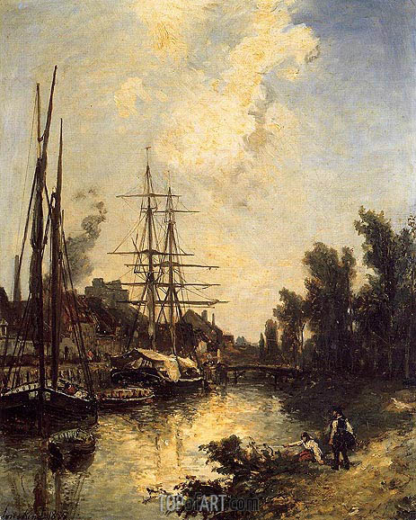 Boats Dockside, 1855 | Jongkind | Painting Reproduction